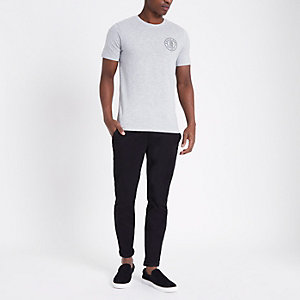 Only & Sons – Graues Slim Fit T-Shirt mit Logo