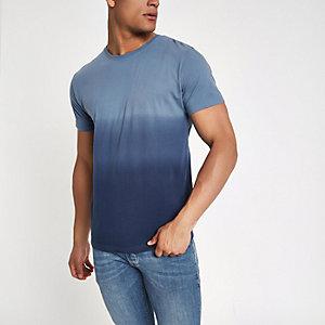 Bellfield - Marineblauw vervaagd T-shirt met ronde hals