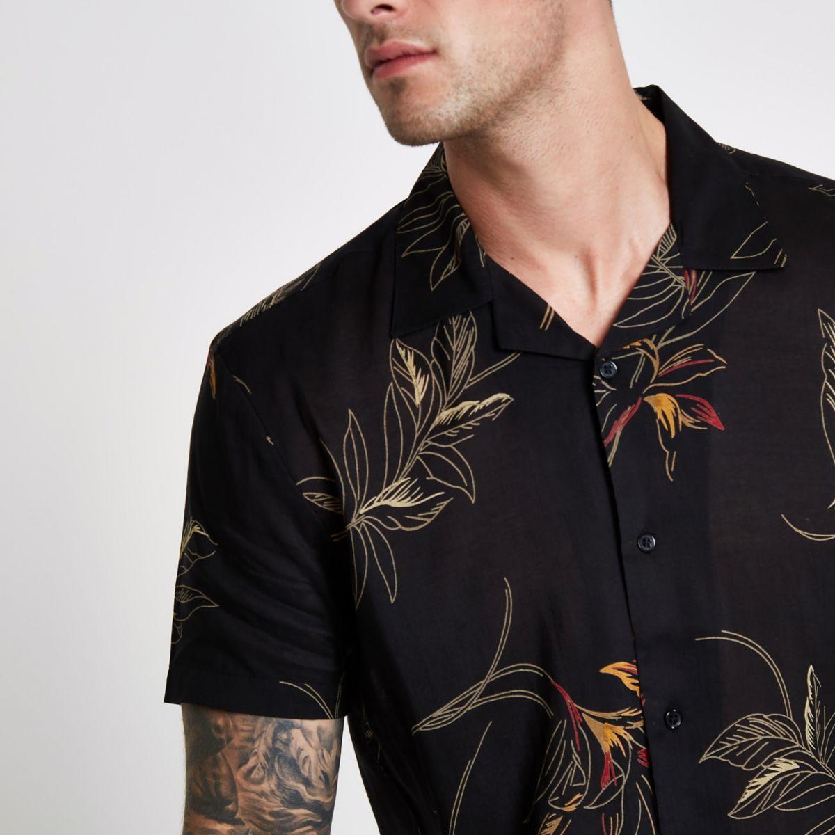 Bellfield black floral print shirt