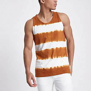 Bellfield orange tie dye vest