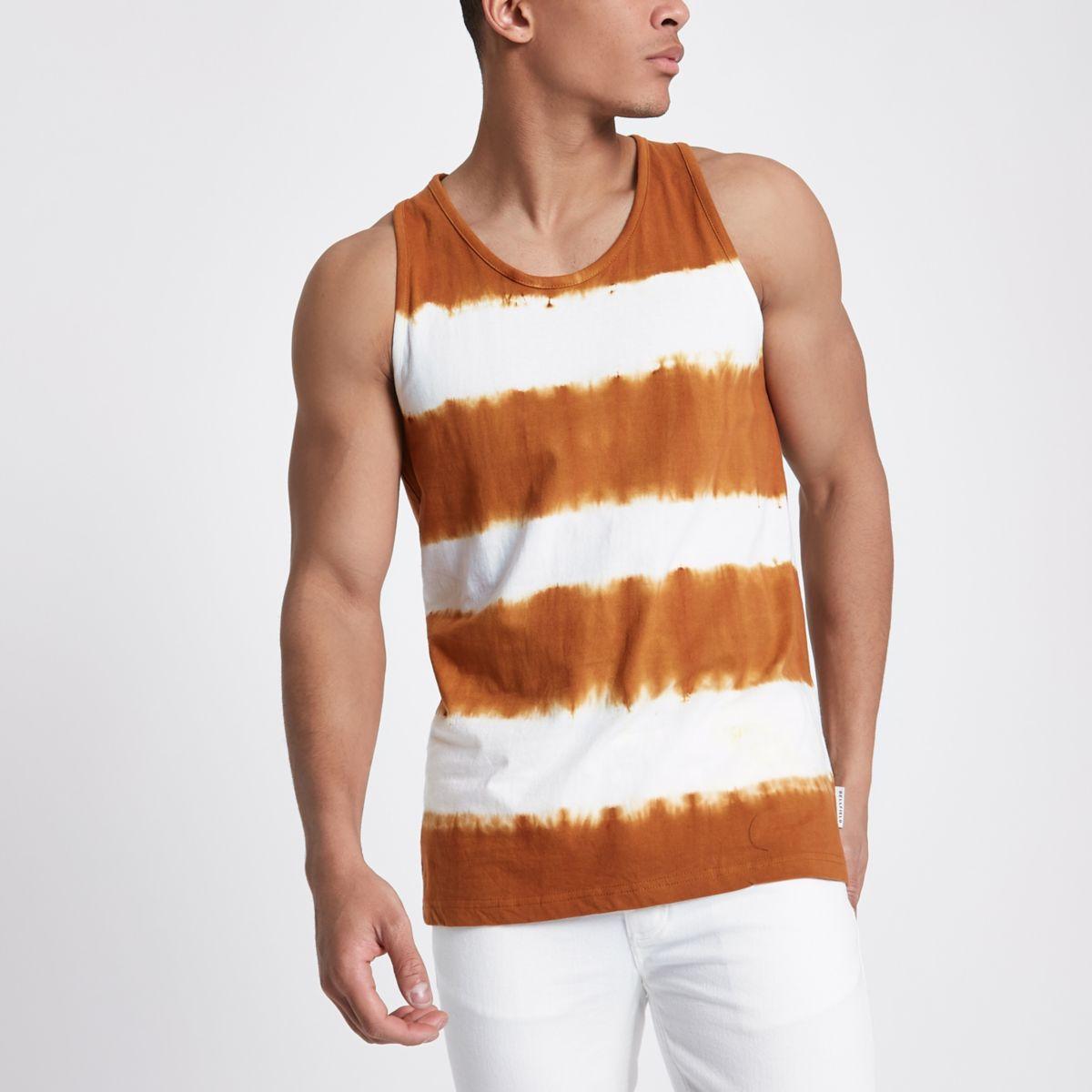 Bellfield – Trägerhemd in Orange mit Batikoptik