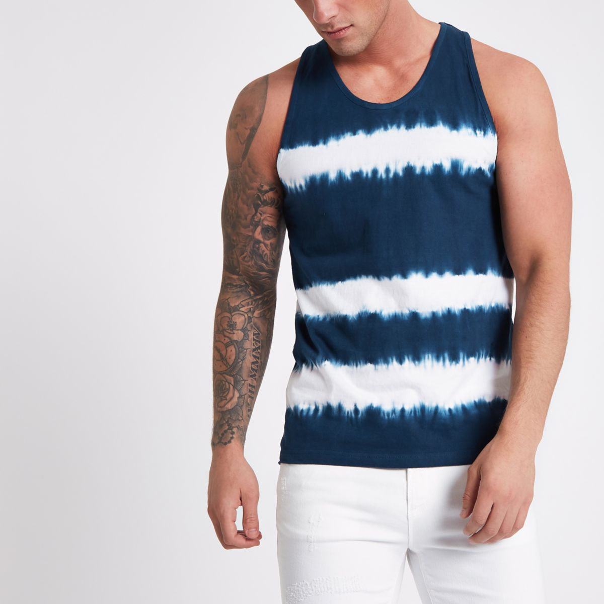 Bellfield navy tie dye vest