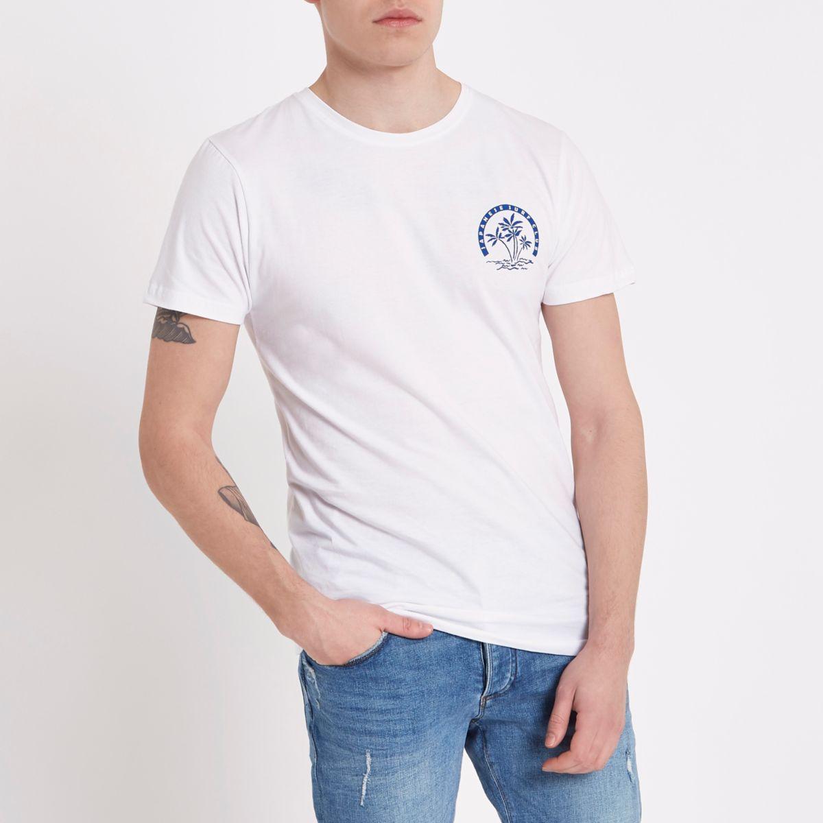 Bellfield – Weißes T-Shirt mit Rundhalsausschnitt