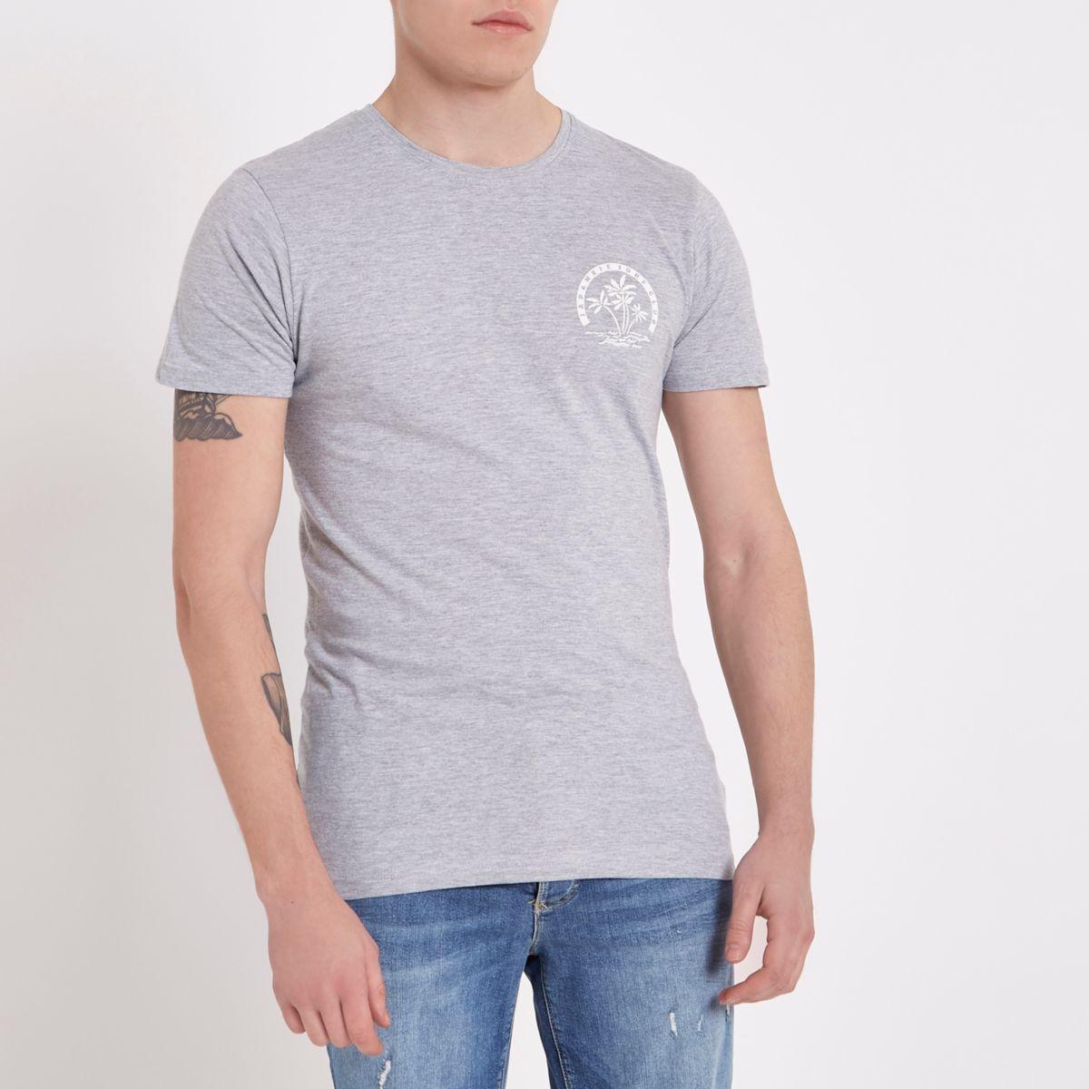 Bellfield – Graues T-Shirt mit Rundhalsausschnitt