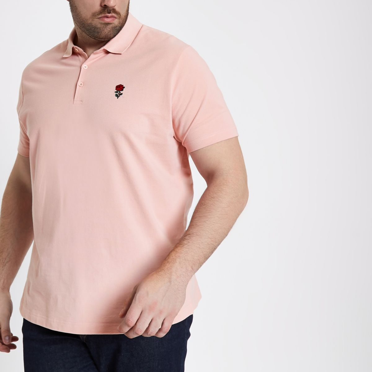 Big and Tall - Roze geborduurd poloshirt