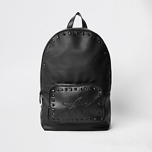 Black wasp embroidered studded backpack