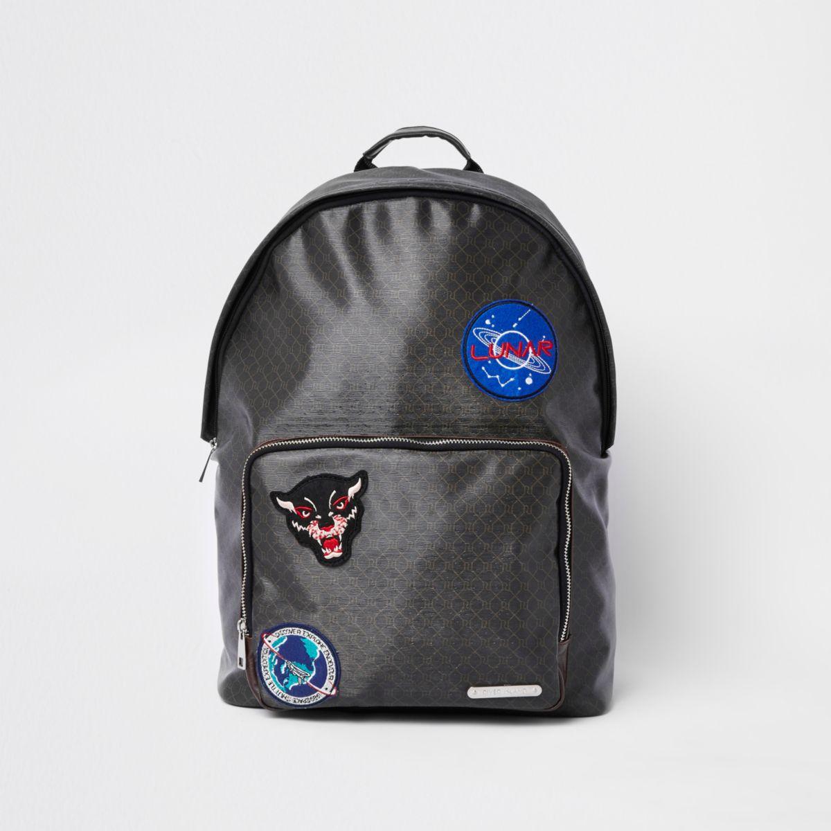 Brown monogram front pocket backpack