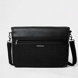 Black embossed satchel bag