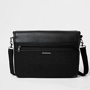 Zwarte satchel met reliëf