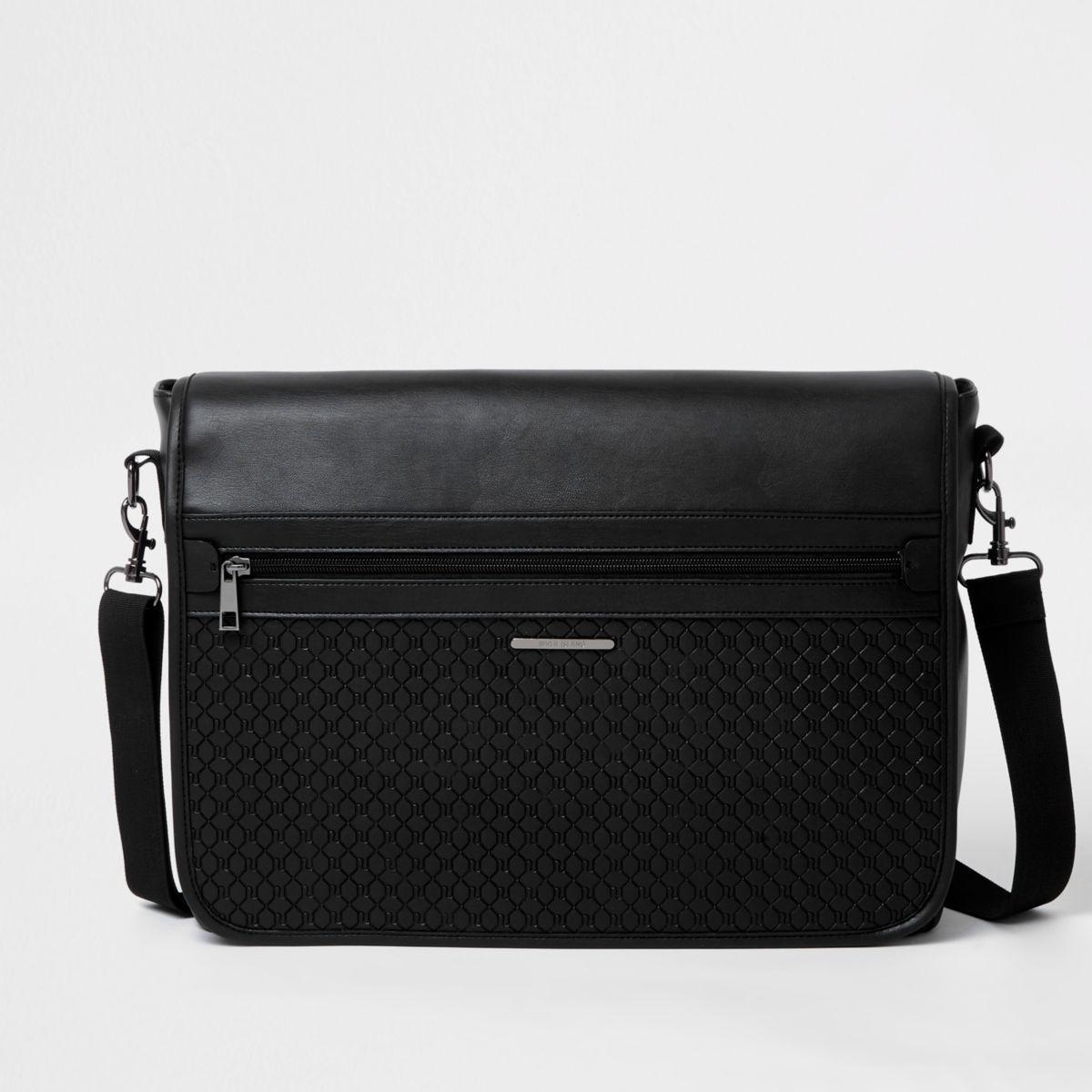 Black embossed satchel bag