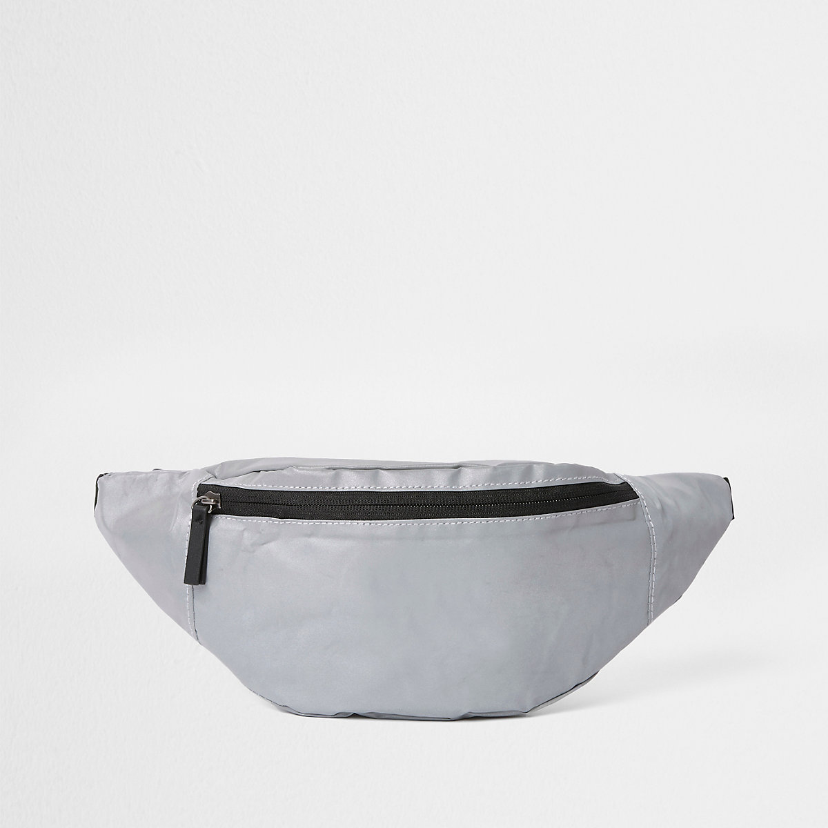 Grey reflective cross body bag