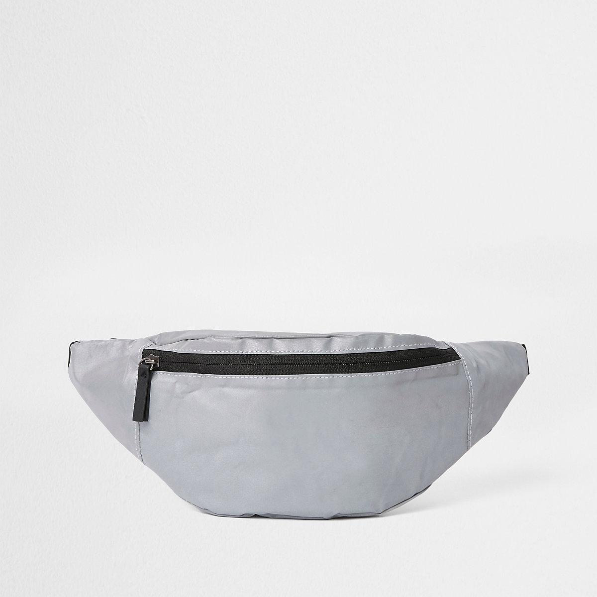 Grey reflective cross body bag