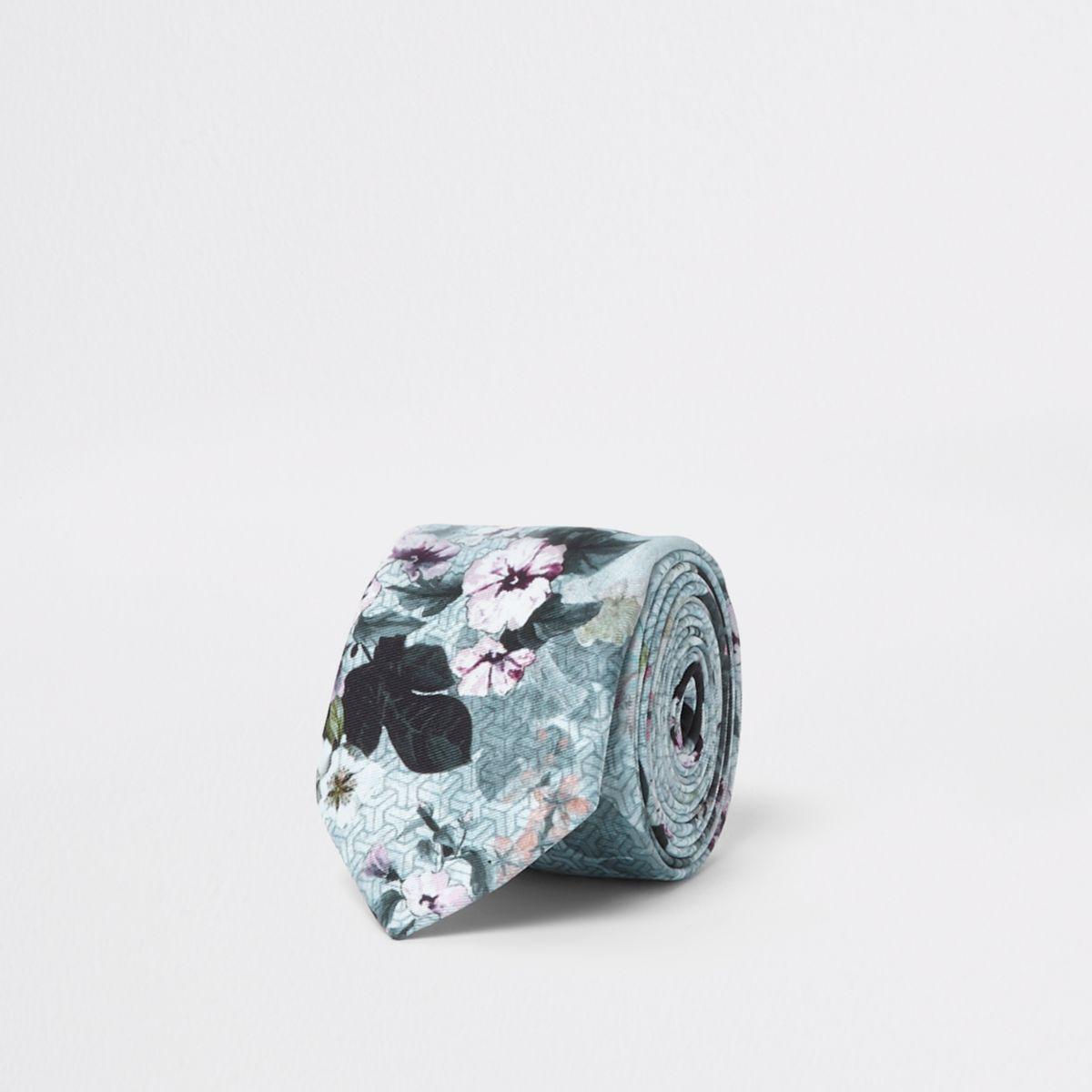 Grey geo smudge floral print tie
