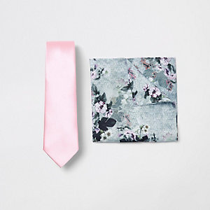 Pink satin tie and floral handkerchief set