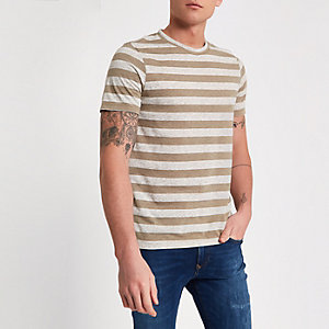 Jack & Jones – Braunes, gestreiftes T-Shirt