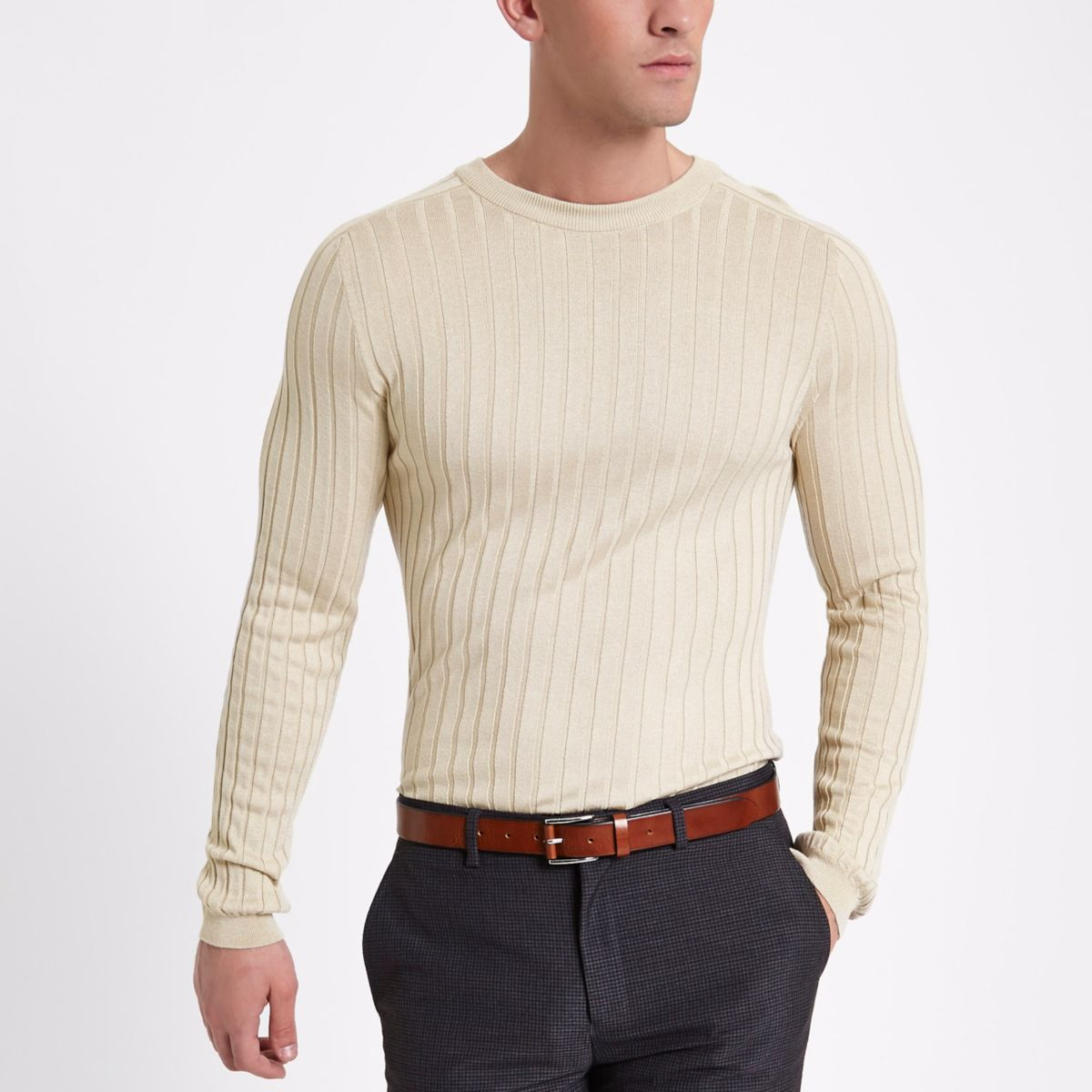 Stone rib muscle fit crew neck jumper