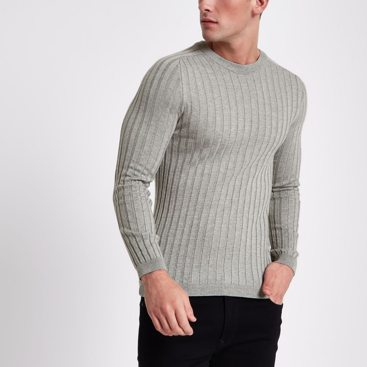 Light grey rib knit muscle fit jumper