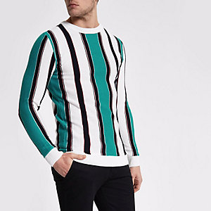 White stripe crew neck slim fit sweater