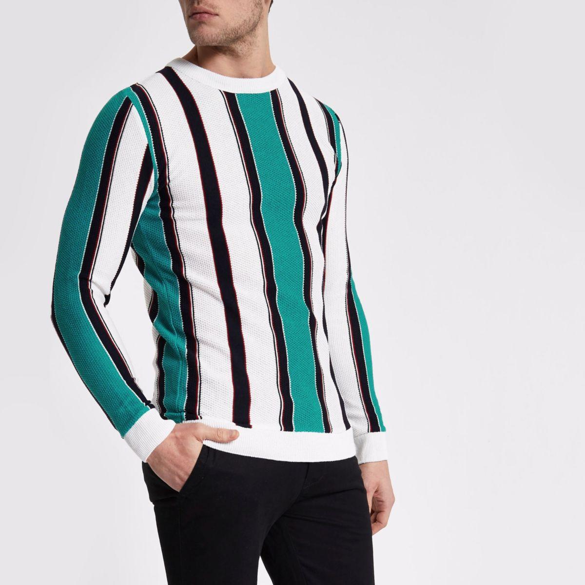White stripe crew neck slim fit sweater