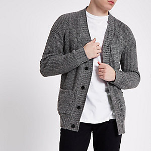 Grey textured knit slim fit cardigan