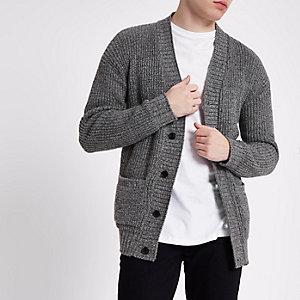 Grey textured knit slim fit cardigan