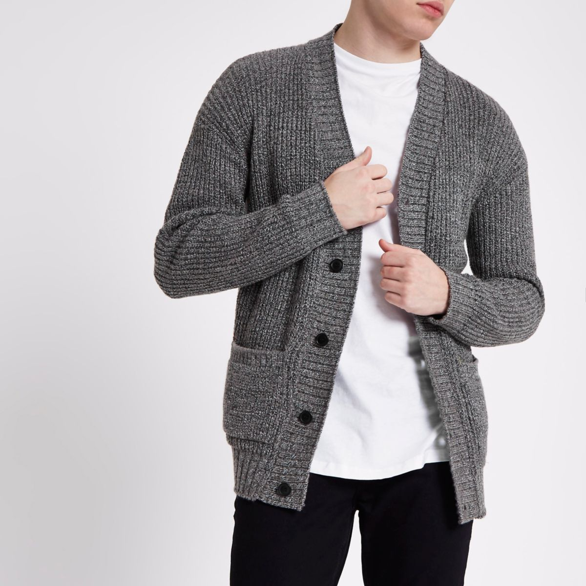 Grey Textured Knit Slim Fit Cardigan by River Island