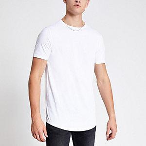 Wit lang T-shirt met ronde zoom