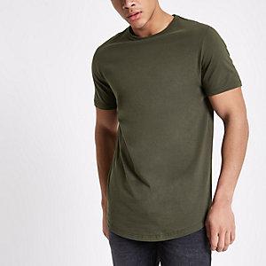 T-shirt long kaki à manches courtes