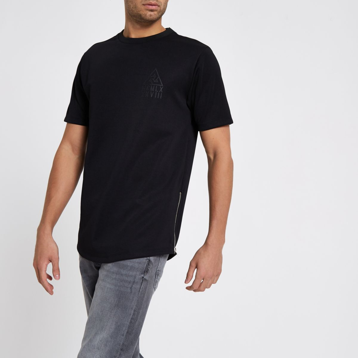 Black side zip longline slim fit T-shirt