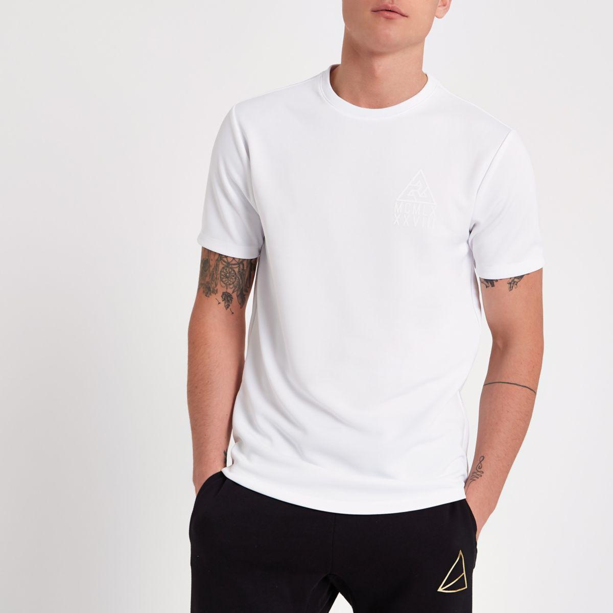 White 'MCMLX' print side zip slim fit T-shirt