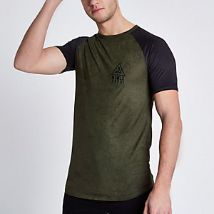 Grünes Muscle Fit T-Shirt aus Wildlederimitat