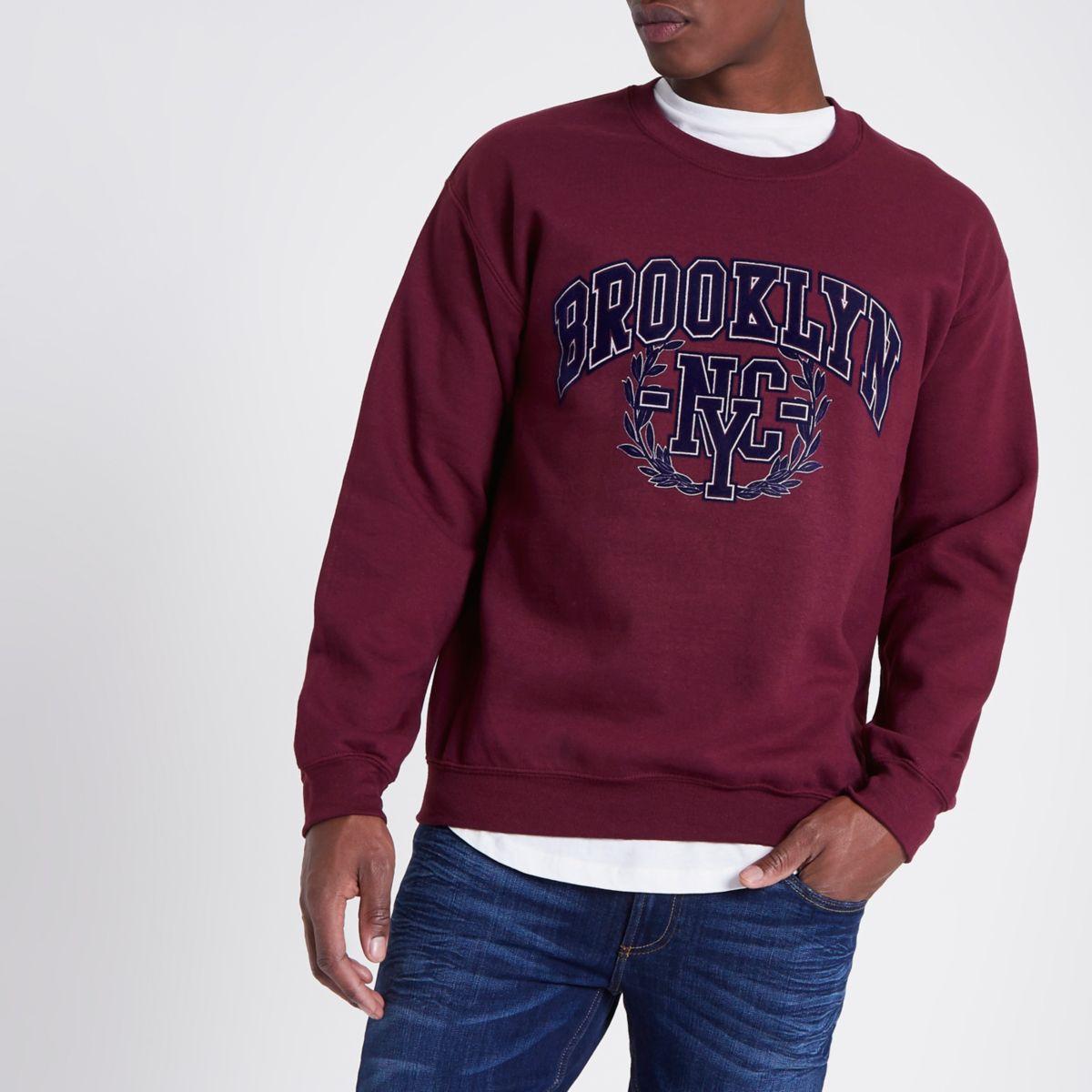 Dark red 'Brooklyn' flock print sweatshirt