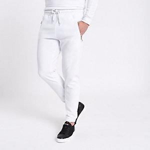 White velour joggers