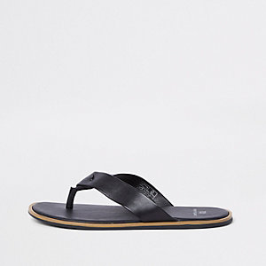 Black leather flip flop