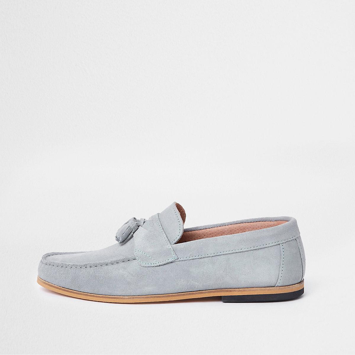 Light blue suede tassel loafers