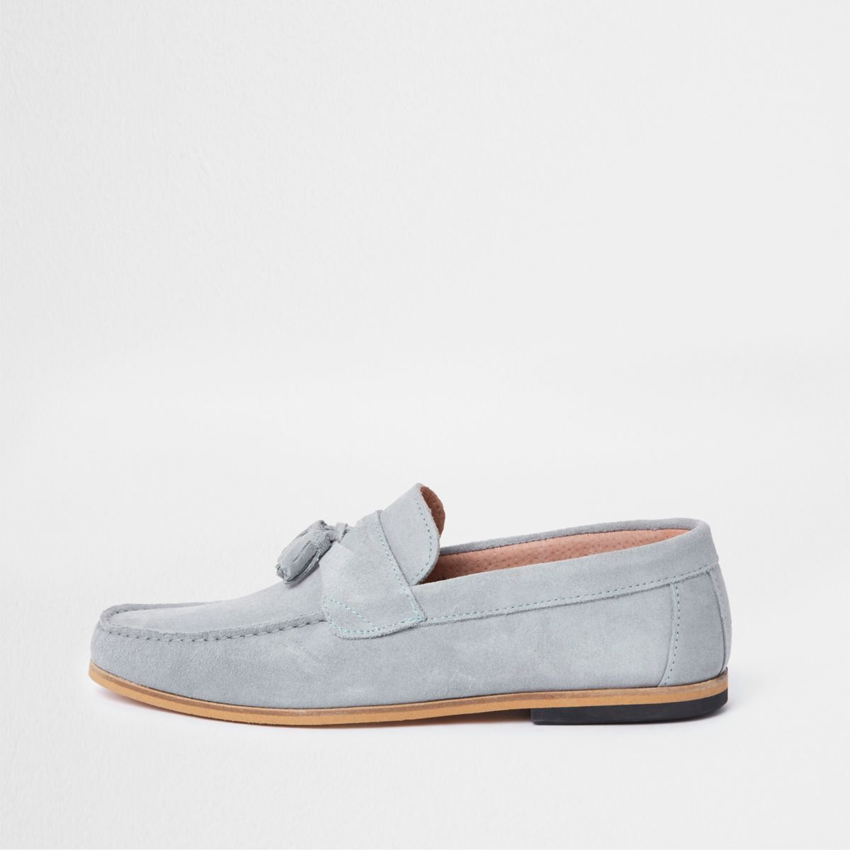 Light blue suede tassel loafers