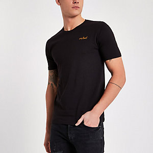 Only & Sons black 'rebel' embroidered T-shirt
