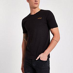T-shirt Only & Sons noir avec inscription « rebel » brodée