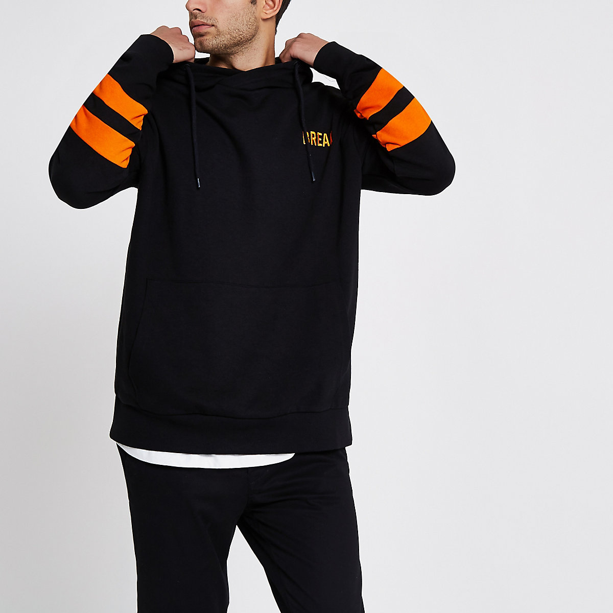 Only & Sons black 'break' hoodie