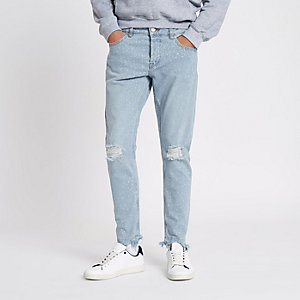 Only & Sons – Hellblaue, gebleichte Slim Fit Jeans