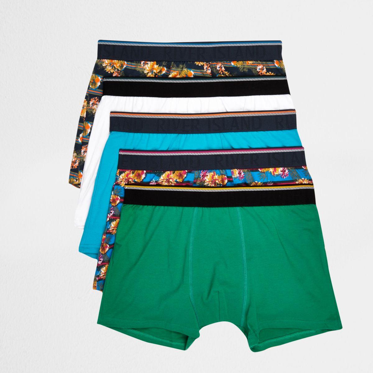 Blue floral stripe boxers multipack