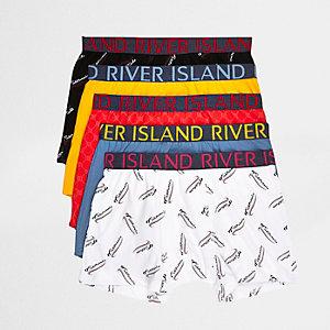 Multipack blauwe boxershorts met print