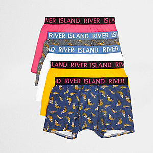 Yellow tiger print boxers multipack