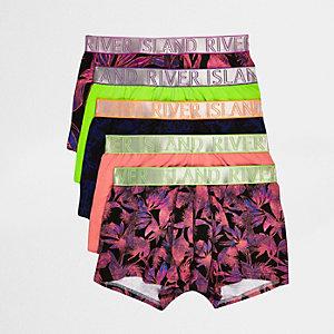Multipack paarse boxershorts met tropische print