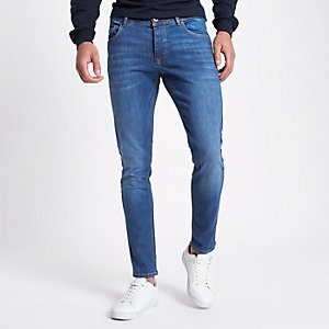 Mens Blue stone wash skinny tape jeans River Island