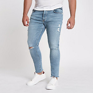 Big & Tall – Danny – Blaue Skinny Jeans im Used Look
