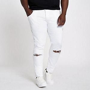 Big & Tall – Eddy – Jean skinny blanc déchiré