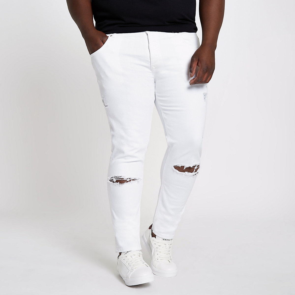 Big and Tall white Eddy ripped skinny jeans