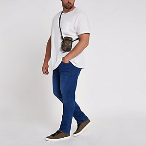 Big & Tall – Seth – Blaue Slim Fit Jeans