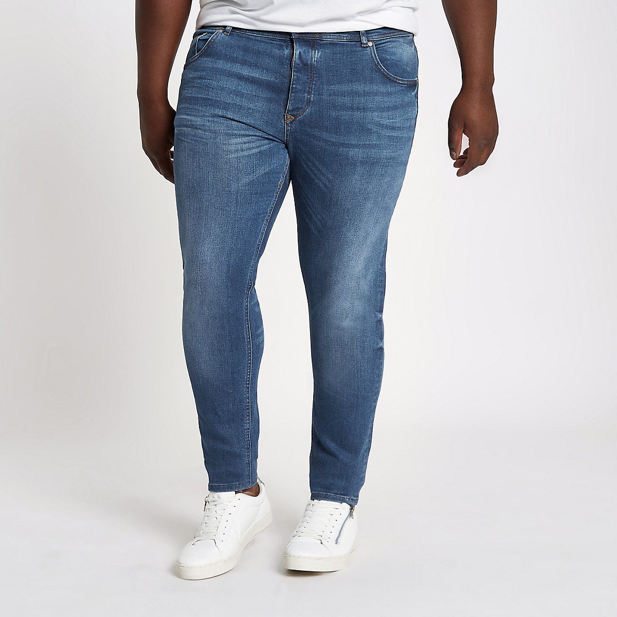 Big & Tall – Eddy – Mittelblaue Skinny Jeans